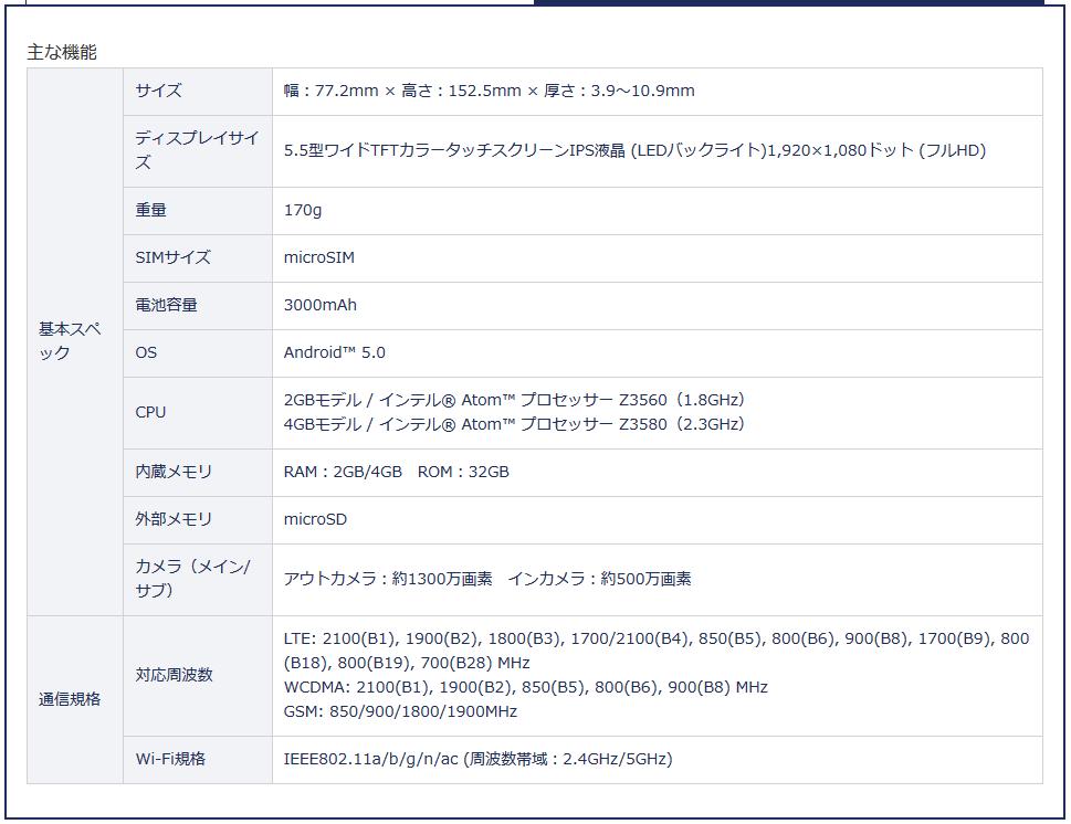 DMM mobile-ZenFone2-newspec