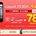 楽天モバイルでLiquid Z530が97%オフ・事務手数料込で780円で販売中